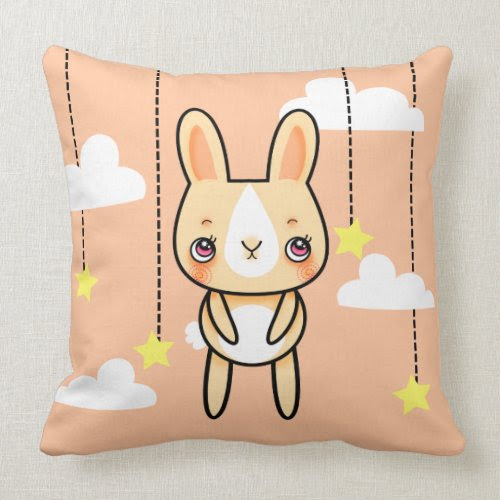 Kawaii bunny in the clouds square pillow mojo_throwpillow