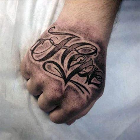 hope tattoos men letter word design ideas