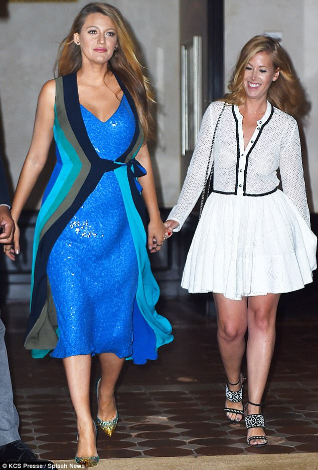 Beating the blues: Blake Lively seemed glad to be back on home turf in New York, as she stepped out looking ultra-glamorous for dinner with a female companion on Tuesday
