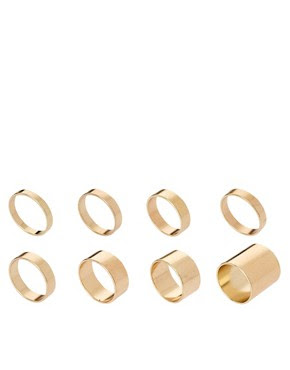 Image 1 of ASOS Pack of 8 Smooth Rings