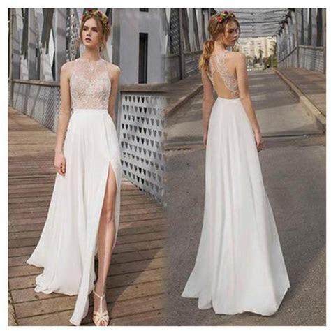 Beautiful White Side Split Prom Dress, Open Back Charming