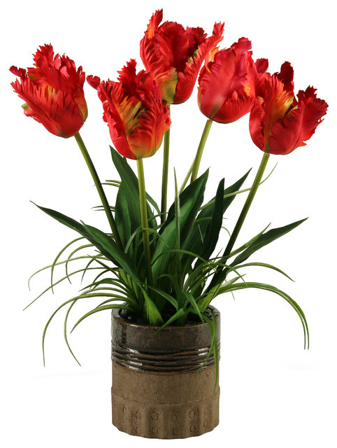 Silk Red Parrot Tulips in Ceramic Planter  Traditional  Artificial Flower Arrangements  by D