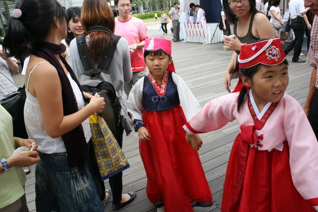 Cute kids running around in kiddy hanbok