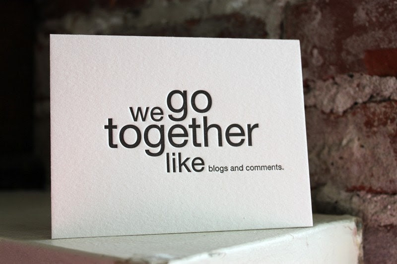letterpress card. we go together like blogs and comments