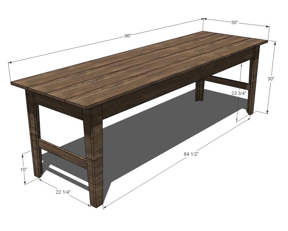 Ana White   Build a Narrow Farmhouse Table   Free and Easy DIY ...