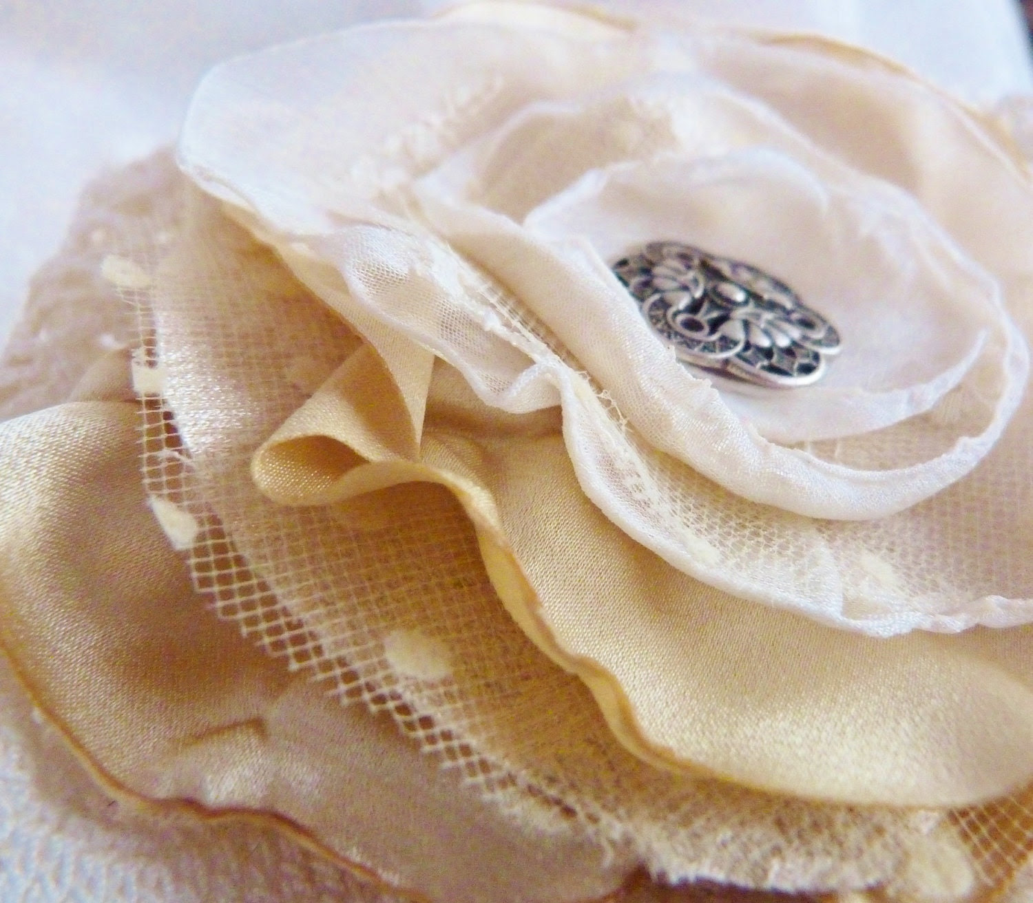 Cream and Gold Shabby Chic Hair Flower with Hairclip and Brooch Back