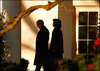 Secretary of State Condoleezza Rice with President Bush at the White House on Sunday.