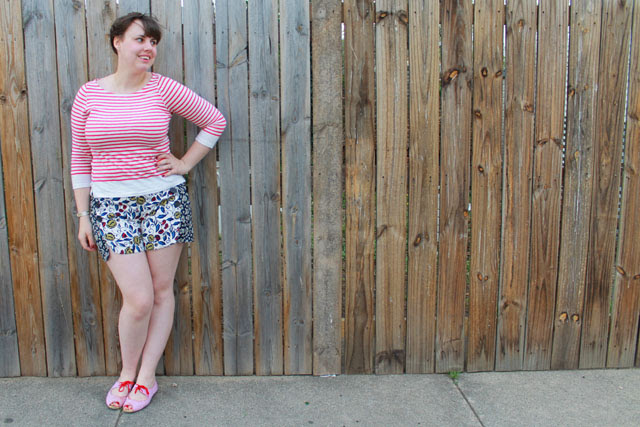 "Missmatch outfit: double floral ""buttoned and blossomed sailor shorts"" from Anthropologie, red striped mariniere breton top, candy-striped open-toe flats, maiden braids"