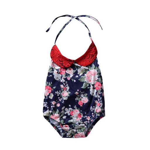 8ad5163a6 Price Description of Cute Baby Kids Girls Halter Floral Print Lace-up  Bodysuit 2018 Sleeveless Backless Doll Collar Swimsuit Carters Clothes  12M-4T