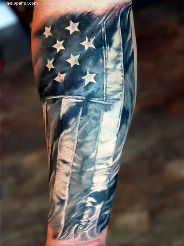 Men Arm Cover Up With Perfect Old Army Flag Tattoo Goluputtar
