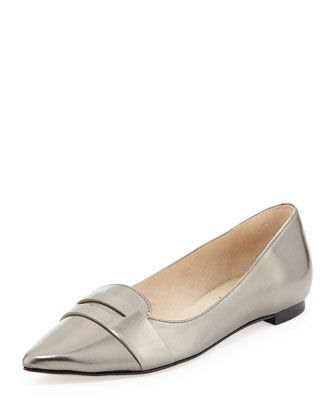 Joan and David Sharlin Metallic Leather Flats