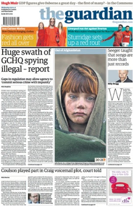 Page one of the Guardian on 29 January 2014