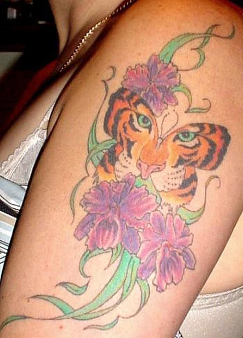Tiger Butterfly Flowers Design Tattoo Tattoos Book 65000