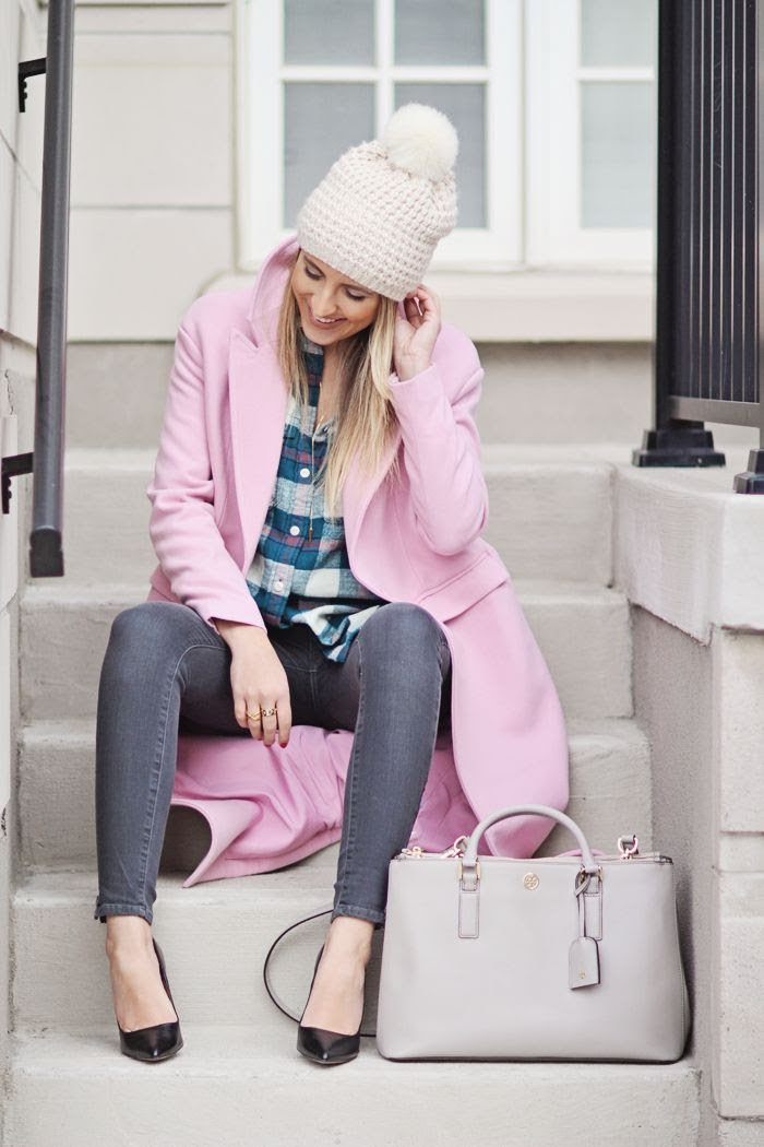 pom pom beanie, pink coat, plaid shirt, pumps