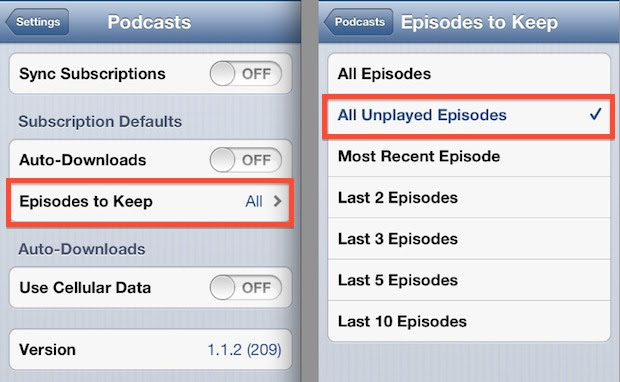 Keep Unplayed Podcast Episodes Only