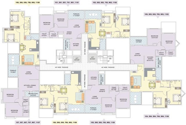 Nirman Viva Ambegaon E Building Available 2 BHK Flats - 901 Back, 907 Front, 908 Back