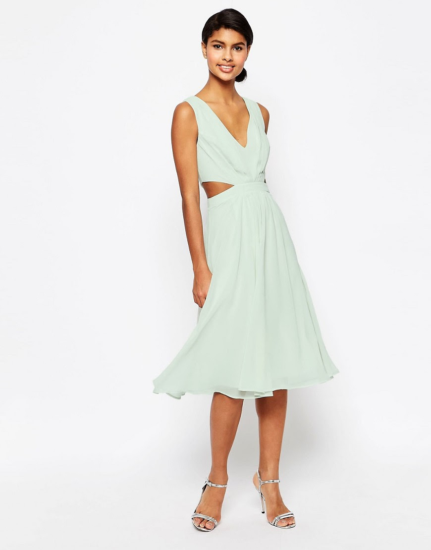 Image 1 of ASOS Side Cut Out Midi Dress