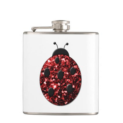 Beautiful Sparkling red sparkles Ladybird Ladybug Hip Flask