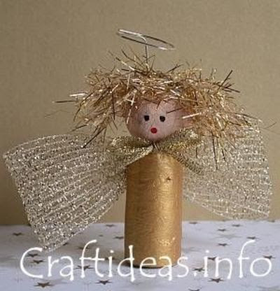 Christmas Crafts for Kids - Recycling Crafts - Wine Cork Gold Angel