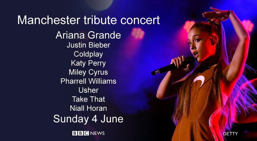 Imagem de divulgação do show beneficente de Ariana Grande em Manchester, divulgada pela BBC (Foto: Reprodução/Twitter/BBC Breaking News)