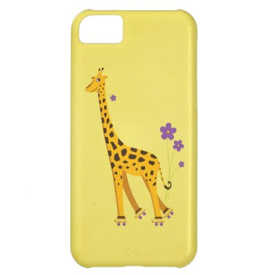 Yellow Funny Cartoon Giraffe Roller Skating