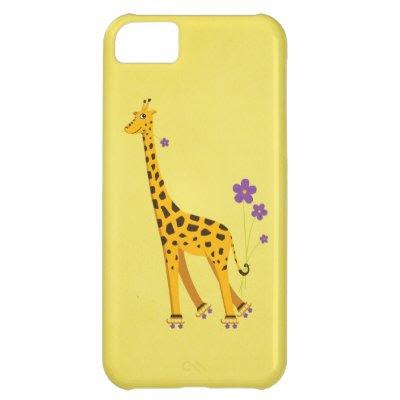 Yellow Funny Cartoon Giraffe Roller Skating