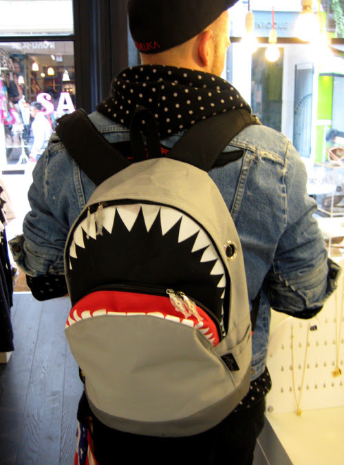 Shark bag spotted in the shop, even has fish on the zips. ACE.