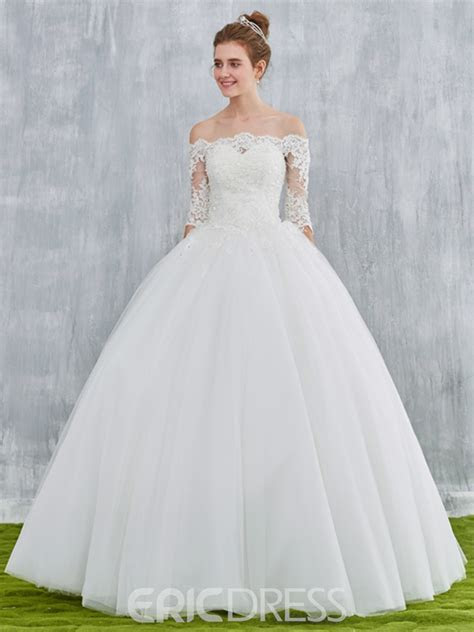 Ericdress Off Shoulder Ball Gown Wedding Dress with Half