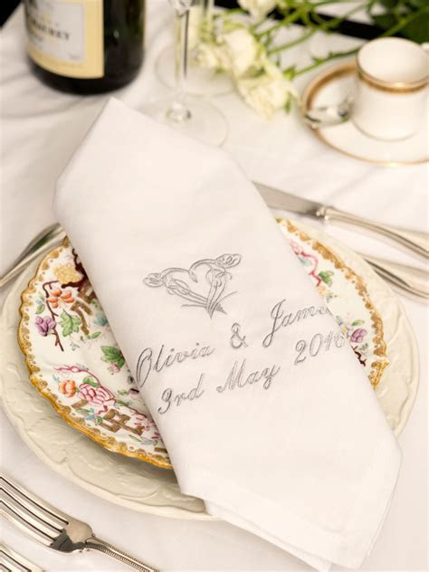Linen Napkins Personalised for Anniversary or Wedding