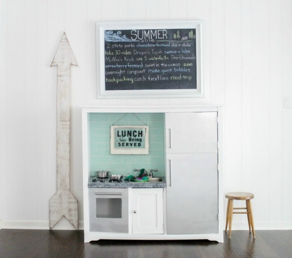 repurposed entertainment center to kids play kitchen