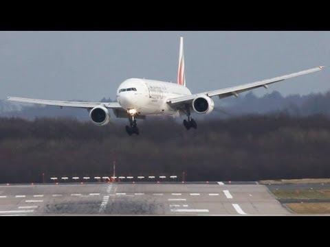 video que muestra como aterrizan aviones en el aerouperto de Dusseldorf con viento cruzado