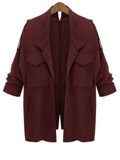 Wine Red Long Sleeve Pockets Loose Coat pictures