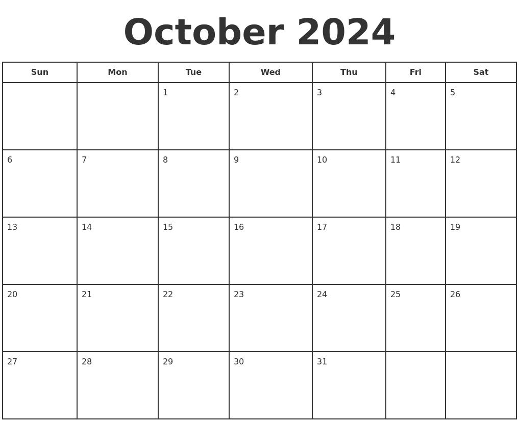 october 2024 print a calendar