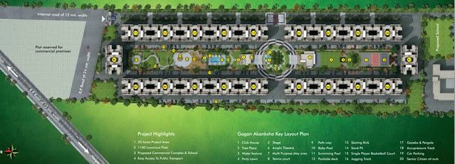 Layout Plan of 20 Buildings (P+7 Story) in 20 Acre Gagan Akanksha, 1 BHK 1.5 BHK & 2 BHK Flats near  Prayagdham, at Koregaon Mul, Uruli Kanchan, off Pune Solapur Highway, Pune 412202