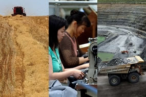 Composite pic of mining, agriculture and manufacturing industries.