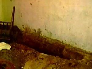 Uma das covas encontradas na casa do suspeito (Foto: TV Diário/Reprodução)