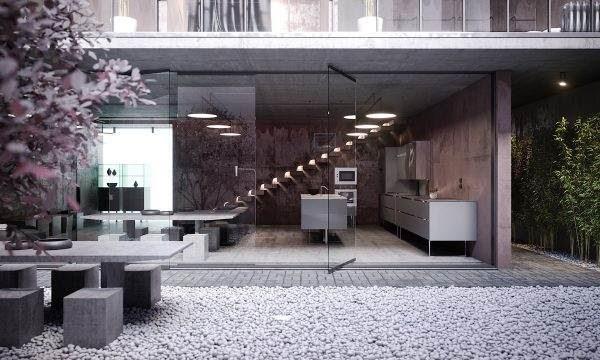 Βιομηχανικό design στο σπίτι μέσα και έξω, με χαλκό