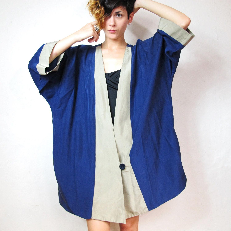 Color Blocked Silk Kimono Jacket (L/XL)