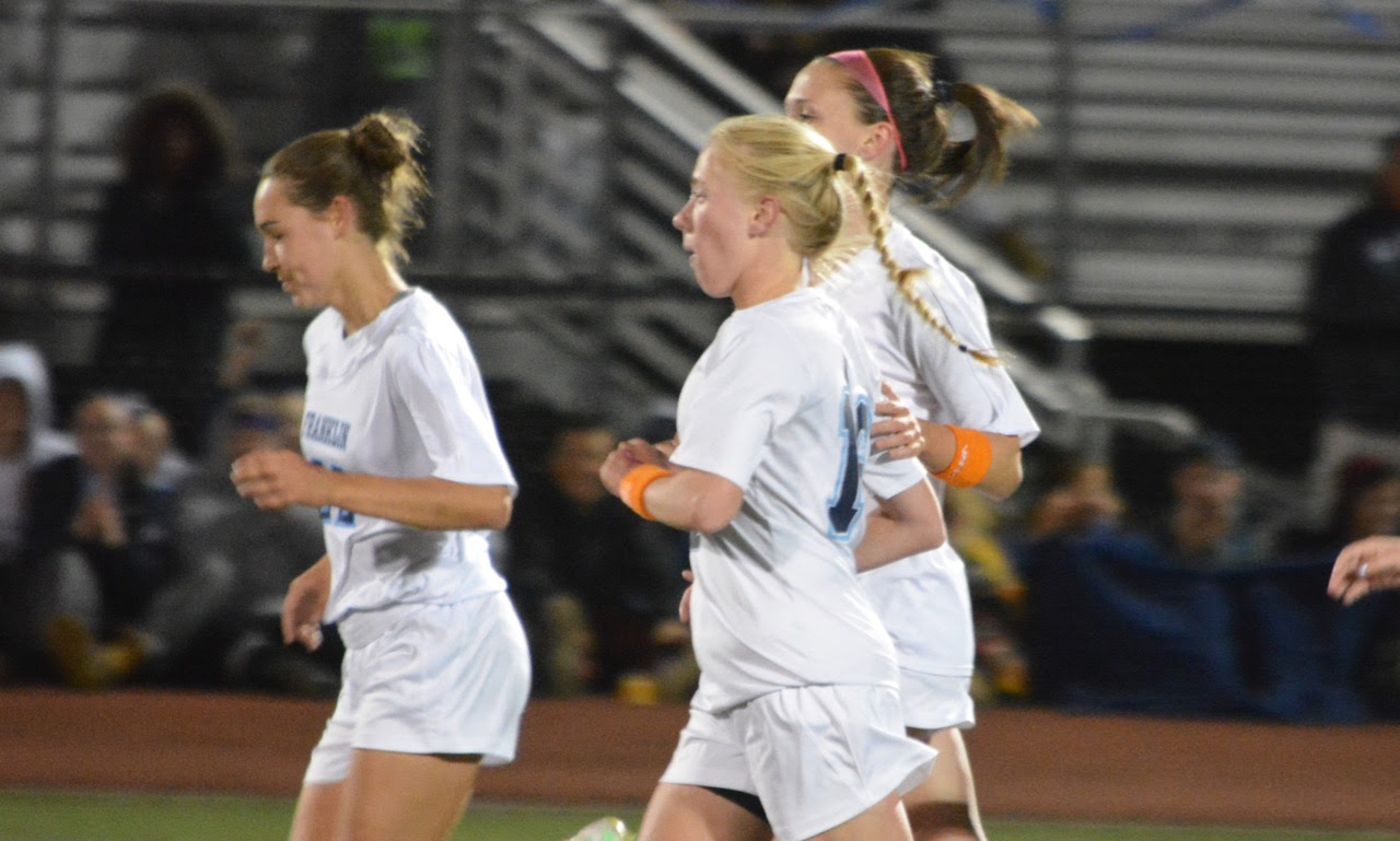 Victoria Stowell (16) scored direct from a corner kick for what turned out to be the game-winner against Walpole on Friday. (Josh Perry/HockomockSports.com)
