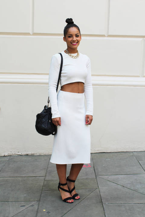 Abigail wears: Top & Skirt: Zara, Shoes: New Look, Bag: Dune, Necklace: Miss Selfridge