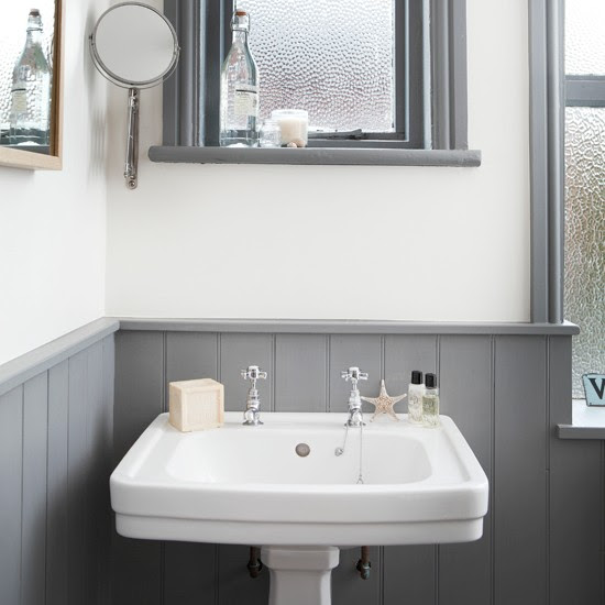 White and grey bathroom with traditional basin | Bathroom ...