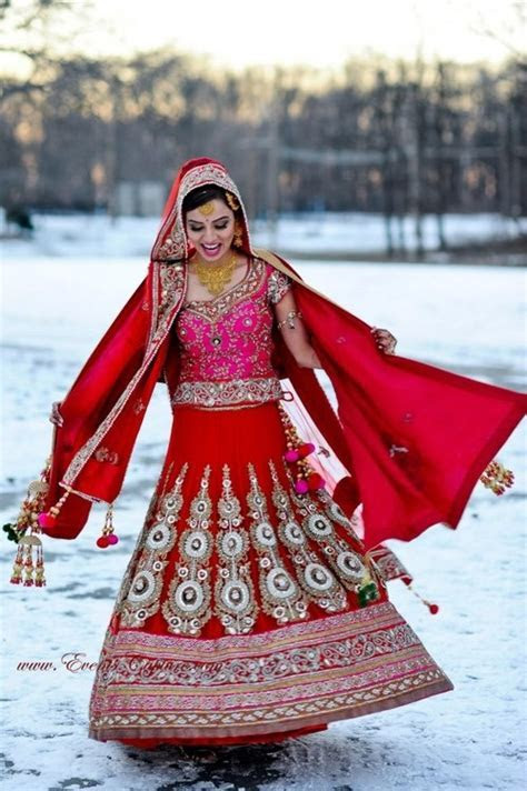 red and pink south asian bridal lehenga, winter wondrous