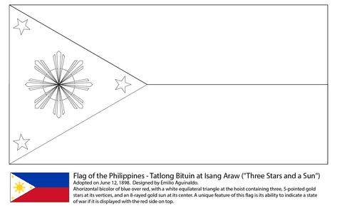 フィリピンの国旗 ぬりえ