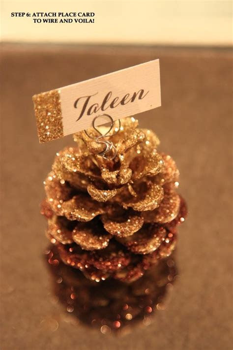 Simple Little Details: DIY Glitter Pine Cone Place Card