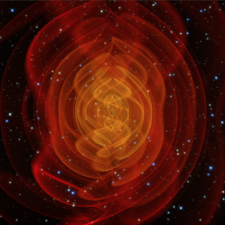 Simulation of the merger of two black holes and the resulting emission of gravitational radiation. The colored fields represent a component of the curvature of space-time. The outer red sheets correspond directly to the outgoing gravitational radiation that one day may be detected by gravitational-wave observatories. The brighter yellow areas near the black holes do not correspond to physical structures but generally indicate where the strong non-linear gravitational-field interactions are in play.Credit: NASA/C. Henze