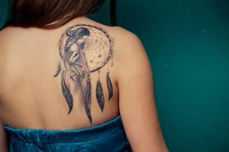Cute Girl Right Back Shoulder Dreamcatcher Tattoo