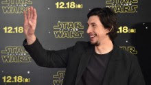 Actor Adam Driver gestures during a promotional event for the upcoming Star Wars film in Tokyo on December 10, 2015. Star Wars: The Force Awakens premieres in Japan on December 18.   AFP PHOTO / KAZUHIRO NOGI / AFP / KAZUHIRO NOGI        (Photo credit should read KAZUHIRO NOGI/AFP/Getty Images)