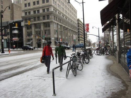 I rode through slush and snow to Cafe Brioso on the first ride in Yay Bikes' Year of Yay series. Come to the next one on February 11th.