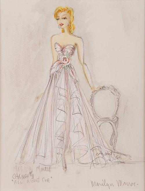 Edith Head sketch and photo of Marilyn Monroe in All About Eve