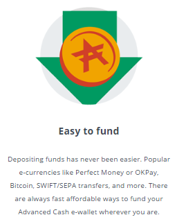 AdvCash easy to fund